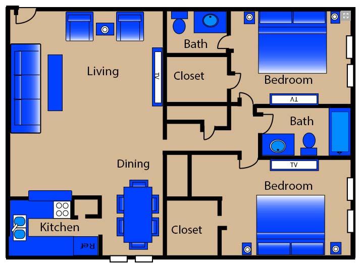 1,115 sq. ft. M3 floor plan