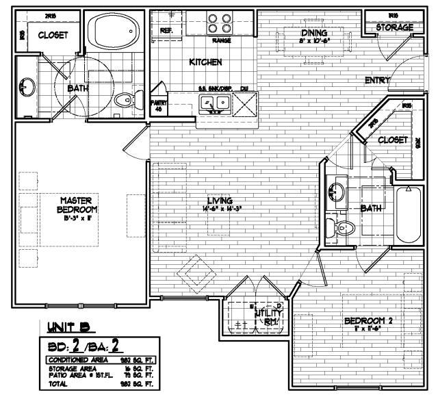 982 sq. ft. 50% floor plan