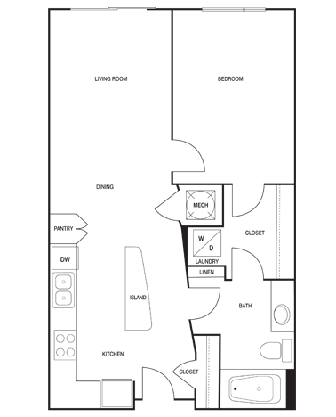 674 sq. ft. floor plan