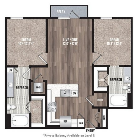 982 sq. ft. B1.1 floor plan