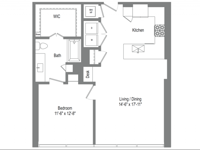 872 sq. ft. A5B floor plan