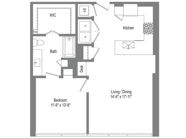 872 sq. ft. A5 floor plan