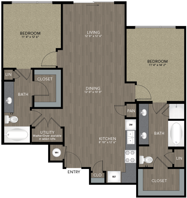1,162 sq. ft. Bishop floor plan