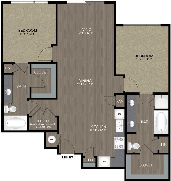 1,162 sq. ft. Bishop floor plan