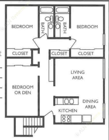 1,310 sq. ft. CFO floor plan