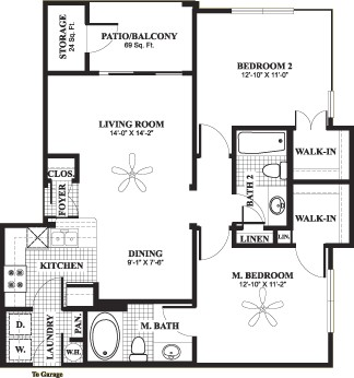 955 sq. ft. D1 floor plan