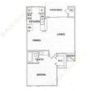 652 sq. ft. A3 floor plan
