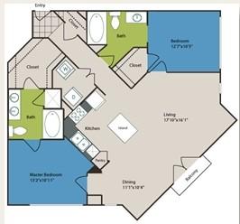 1,178 sq. ft. B5 floor plan