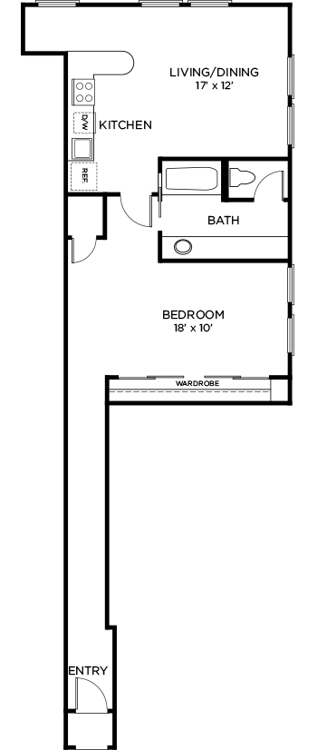 818 sq. ft. to 864 sq. ft. A8 floor plan
