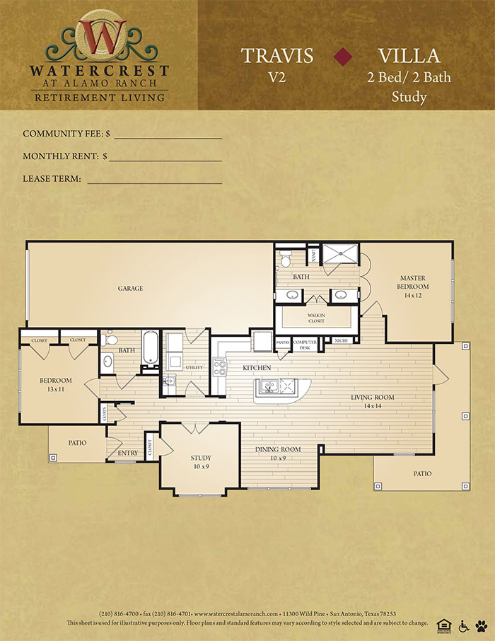 1,100 sq. ft. Travis floor plan