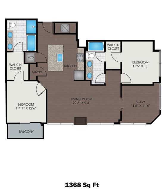 1,368 sq. ft. R floor plan