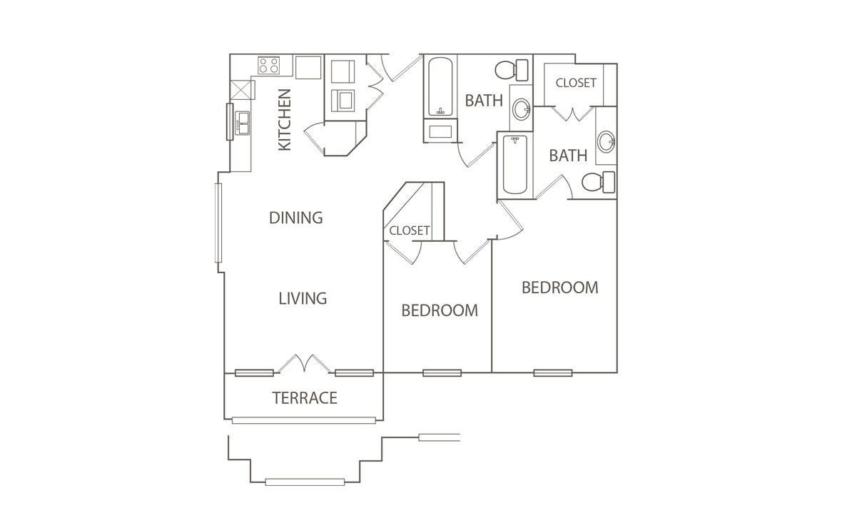 935 sq. ft. to 963 sq. ft. Smarty Jones/50% floor plan