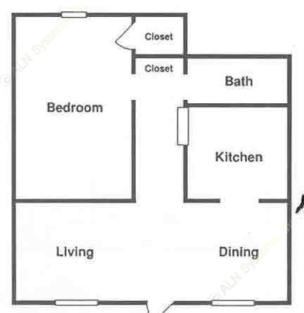 715 sq. ft. ABP floor plan