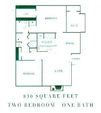 830 sq. ft. DANBURY floor plan