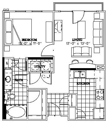 658 sq. ft. Skyline floor plan