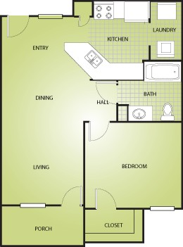 675 sq. ft. A1/30% floor plan