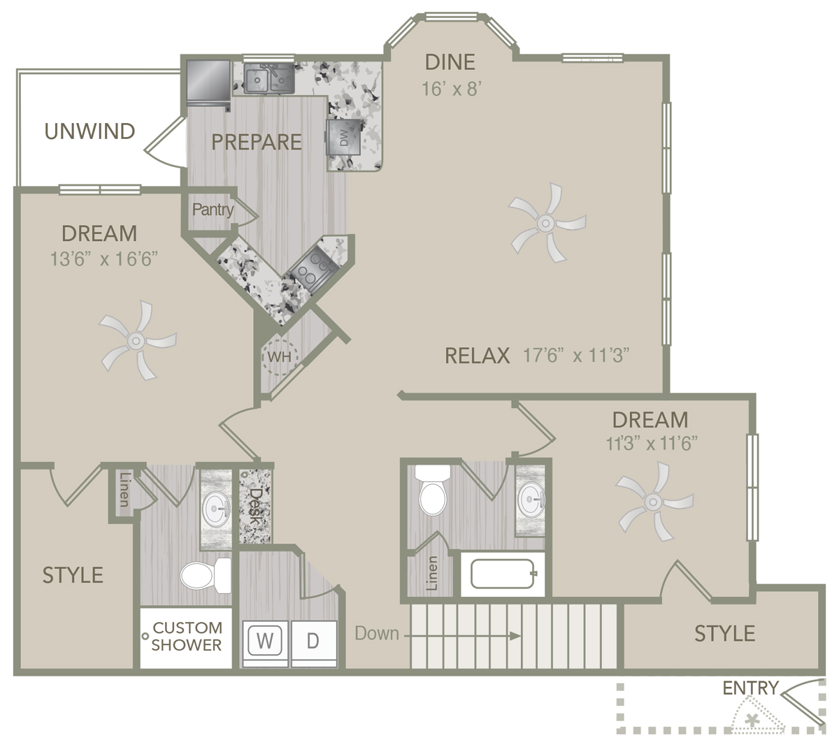 1,457 sq. ft. B2U floor plan
