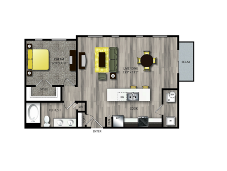 861 sq. ft. A4 floor plan