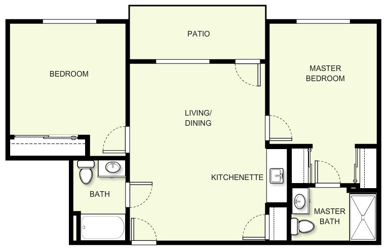893 sq. ft. C3 floor plan