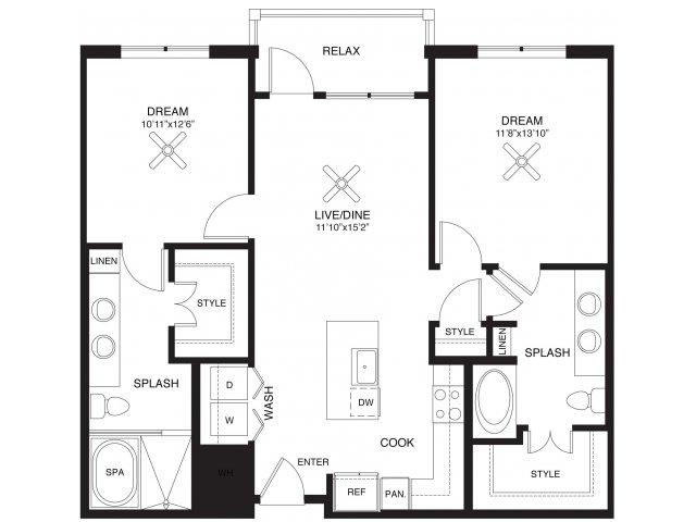 1,099 sq. ft. Ferguson floor plan