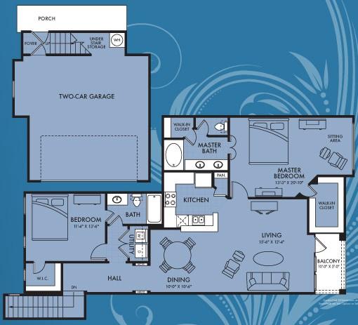 1,381 sq. ft. Kalinda floor plan