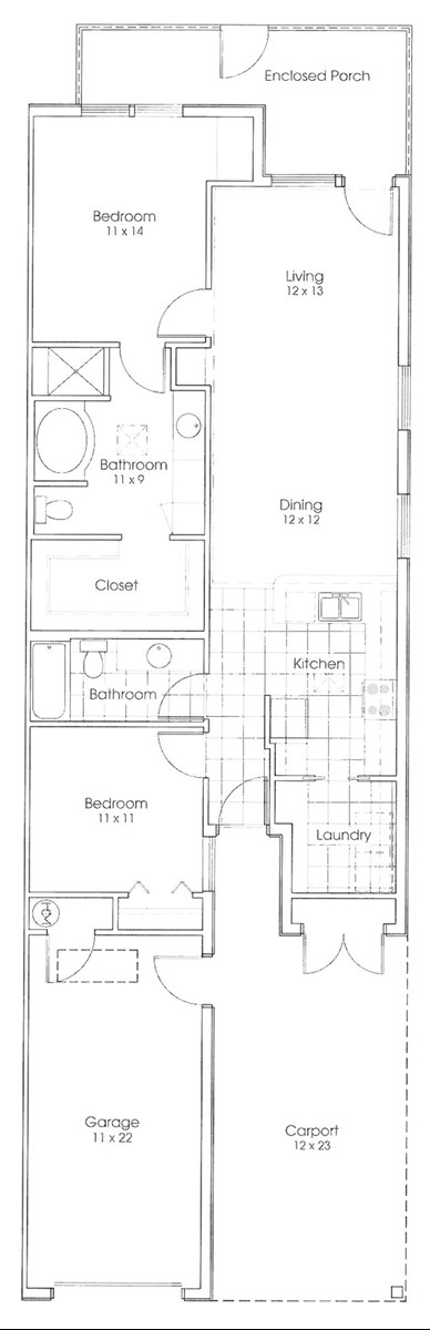 1,204 sq. ft. Ranger Cottage floor plan