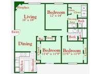 1,406 sq. ft. C6 floor plan