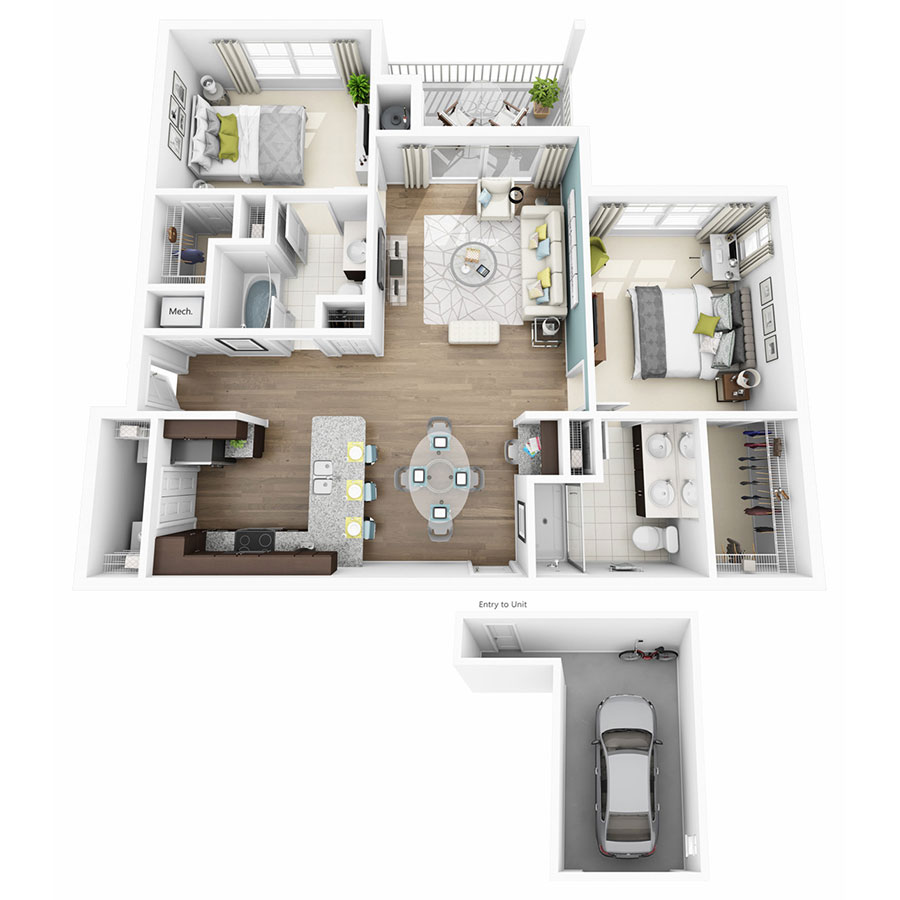 1,109 sq. ft. Elate w/Garage floor plan