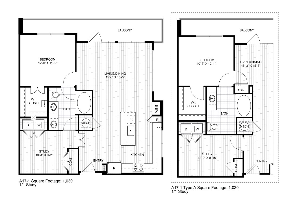 1,030 sq. ft. A17-1 floor plan