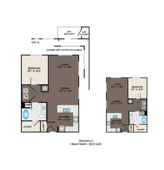 797 sq. ft. to 852 sq. ft. Blacklace II floor plan