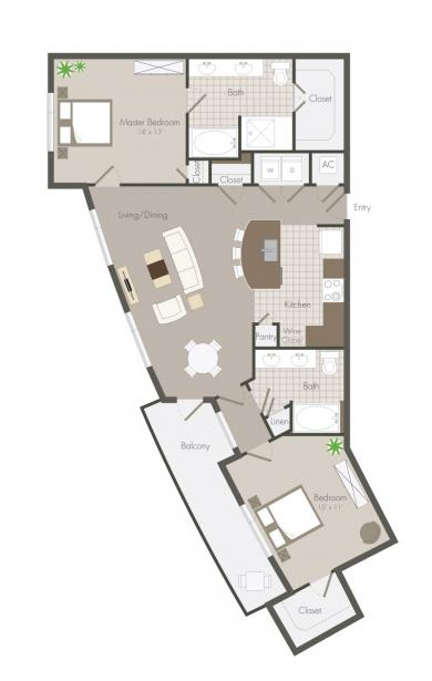 1,230 sq. ft. Moy floor plan