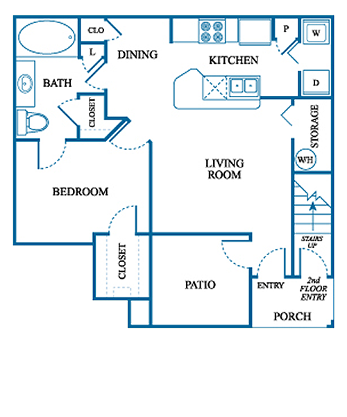 742 sq. ft. A1/DOWN floor plan