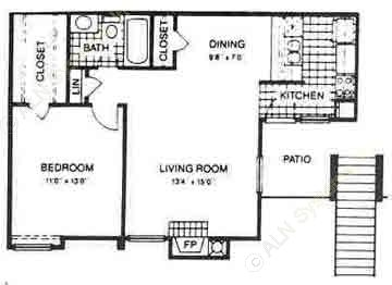 677 sq. ft. BAY HILL floor plan