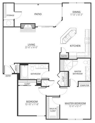 1,275 sq. ft. B3fp floor plan