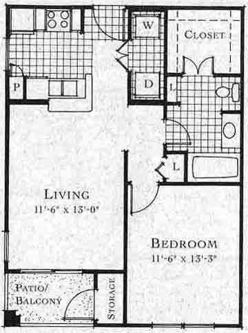 632 sq. ft. A1 floor plan