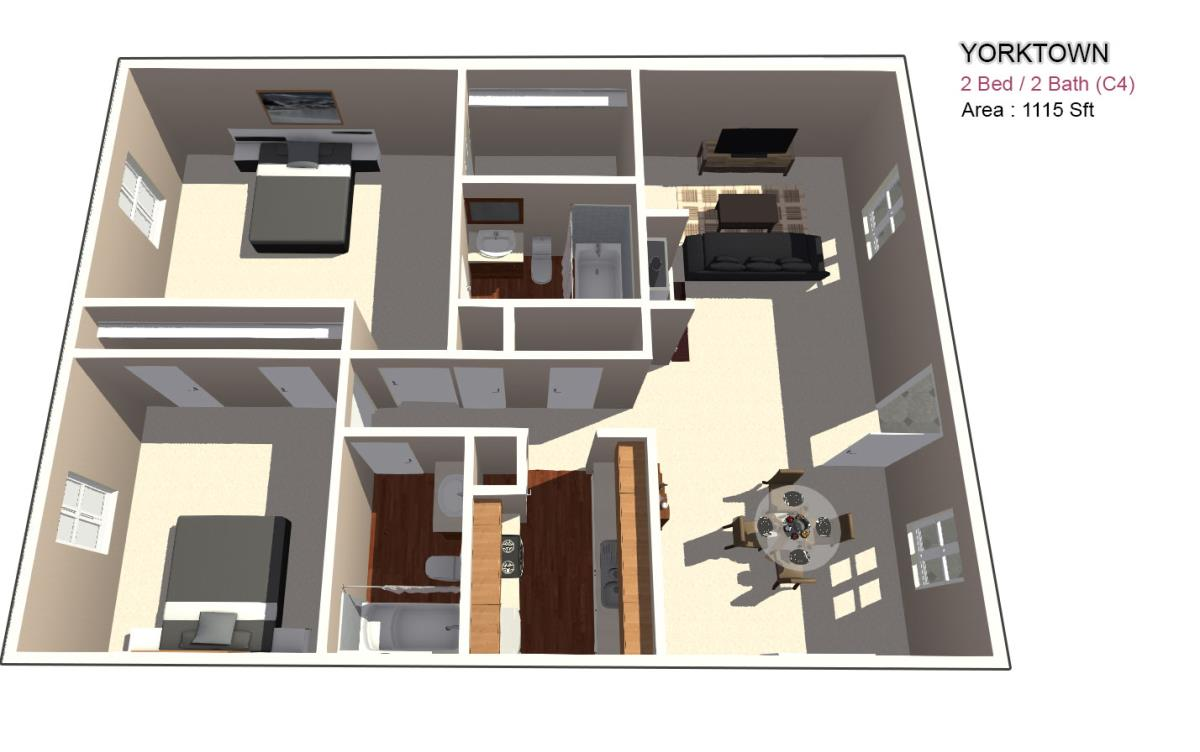 1,126 sq. ft. 2X2.5 floor plan