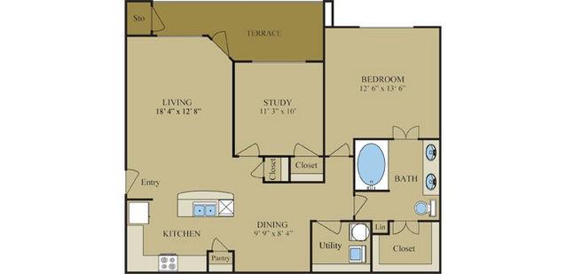 1,020 sq. ft. B1 floor plan