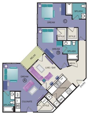 1,471 sq. ft. C2 floor plan