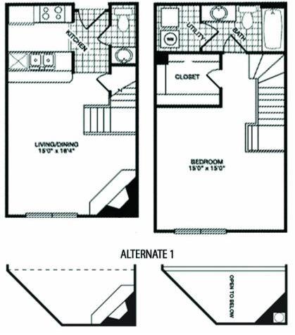 958 sq. ft. T25 floor plan