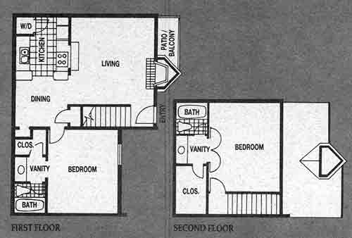 1,061 sq. ft. B2 floor plan