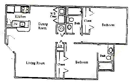 893 sq. ft. 60% floor plan