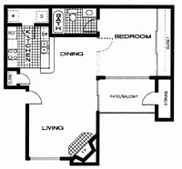 582 sq. ft. E floor plan