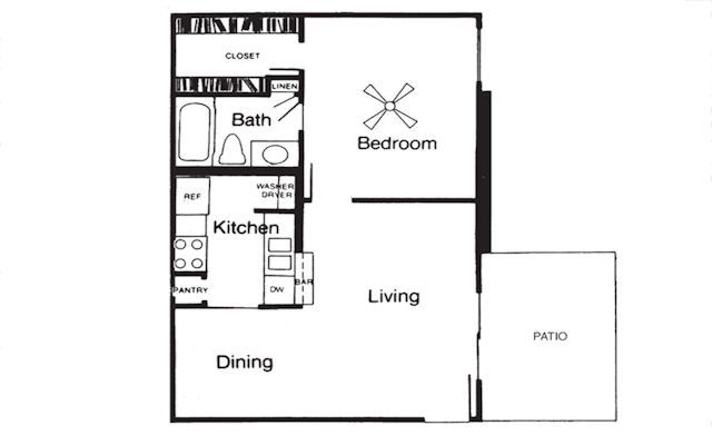 594 sq. ft. A floor plan
