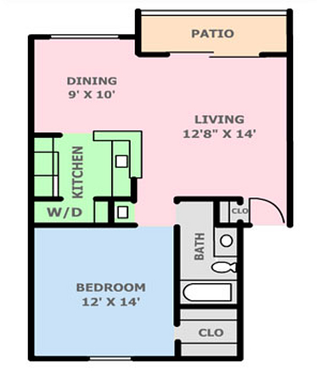 715 sq. ft. 2A floor plan