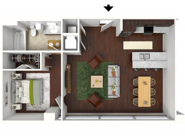 690 sq. ft. Berry floor plan