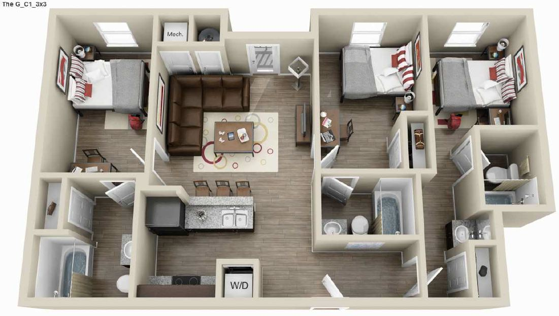 1,090 sq. ft. floor plan