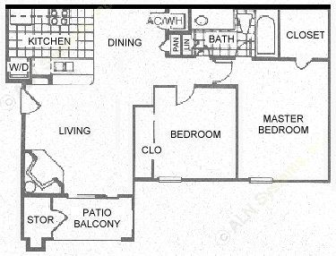 766 sq. ft. B1 floor plan