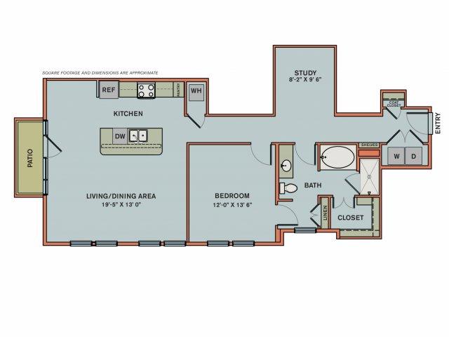 1,096 sq. ft. 3AS1 floor plan
