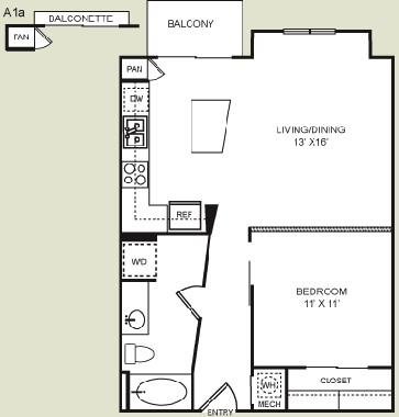670 sq. ft. A1 floor plan