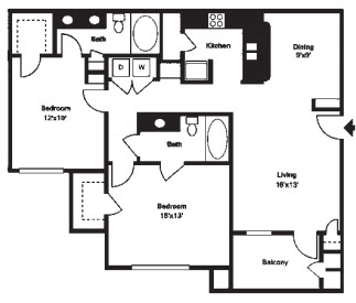 1,208 sq. ft. F floor plan